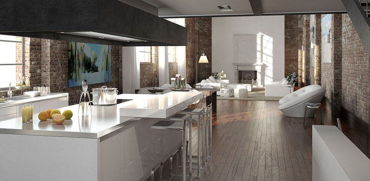 Современная белая мебель удачно вписывается в общий интерьер стиля лофт.