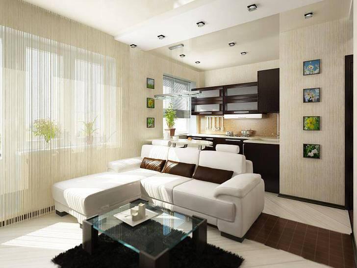 Увеличиваем пространство за счёт совмещения кухонной и гостиной зон.