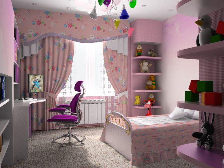 Функциональная комната хай-тек для юной леди в розовый тонах.