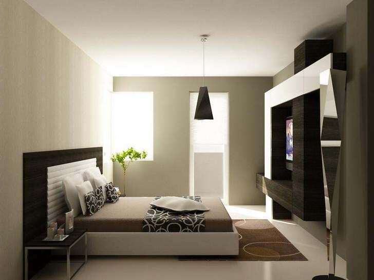 Просторная спальня в стиле хай-тек .