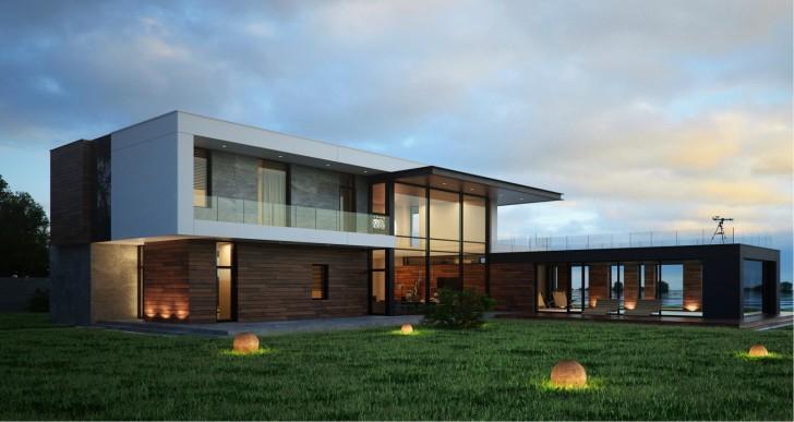 Большой дом Г-образной формы с панорамными окнами. Темно-коричневые стены гармонично сочетаются со светлыми элементами фасада. Проект разработан в лучших традициях стиля хай-тек.