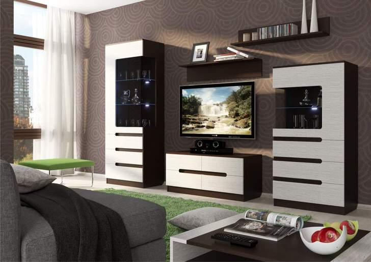 Модульная мебель для гостиной в стиле хай тек. Хай тек не терпит скучной, заезженной симметрии.