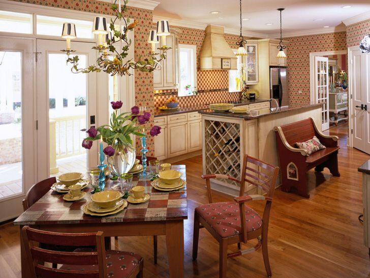 Стиль кантри идеален, если речь идет об оформлении кухонного пространства. Небольшая кухня в загородном доме в стиле кантри - отличное место для теплых семейных посиделок.