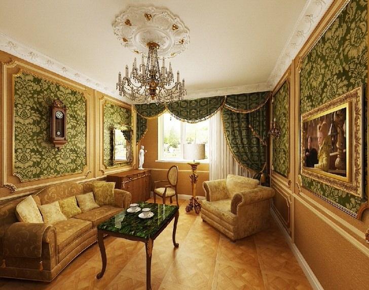 Темно-зеленые обои с золотыми узорами - отличный вариант для гостиной в стиле барокко.