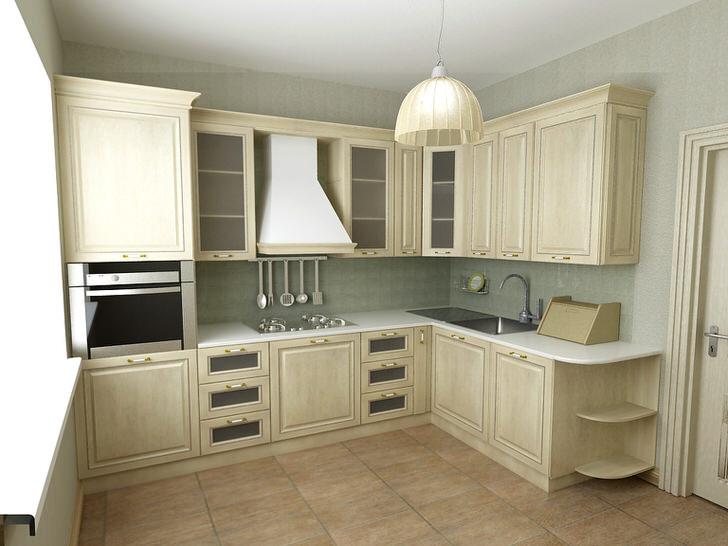 Красивый интерьер кухни в пастельных тонах.