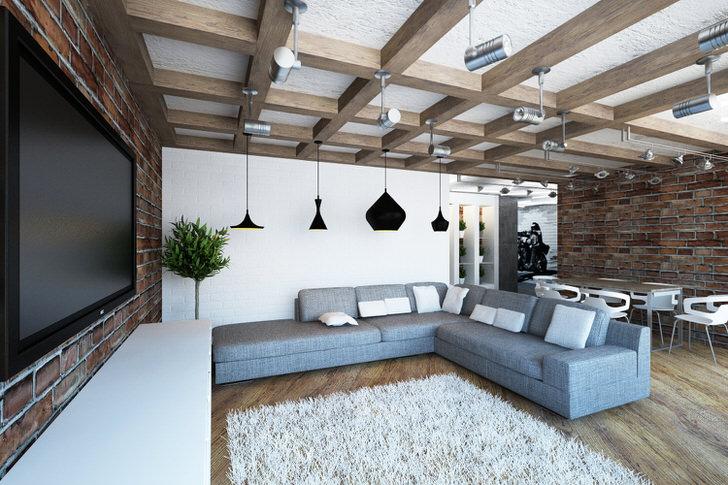 Уютная светлая гостиная в стиле лофт. Гармоничное сочетание кладки кирпичных стен и массивных балок.