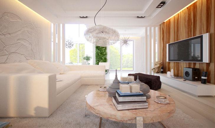 Интерьер гостиной в современном стиле хай тек. Минимум пестроты в отделке, современная техника и футуристический дизайн декора.