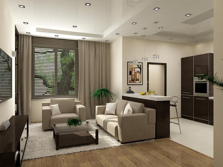 Уютная квартира-студия в современном стиле хай тек.