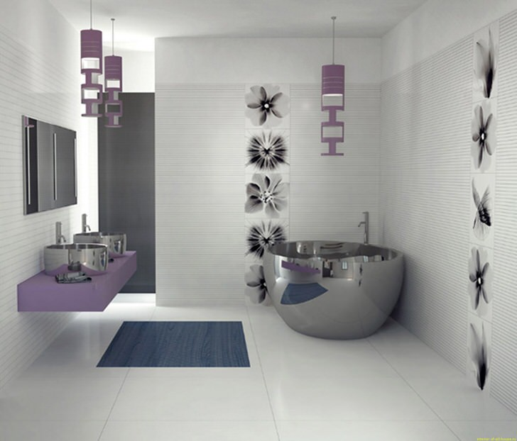 Необычная ванная комната. Все традиции поломаны. Стиль хай тек.