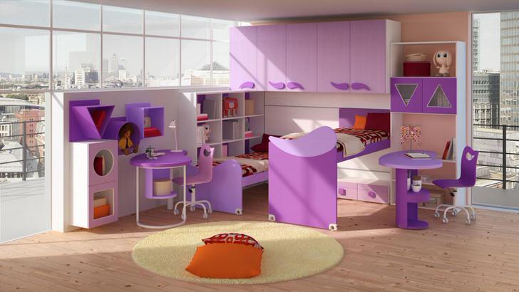 Детская в стиле хай-тек в квартире французской семьи. Правильный пример подобранный мебели.