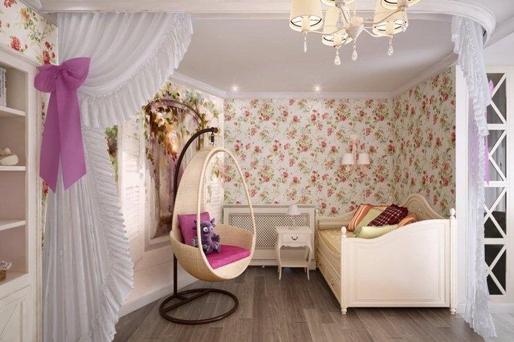 Милая детская спальня в стиле кантри для девочки.