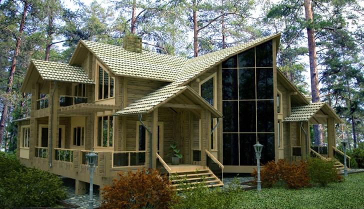 Двухэтажный дом в стиле хай-тек за городом.