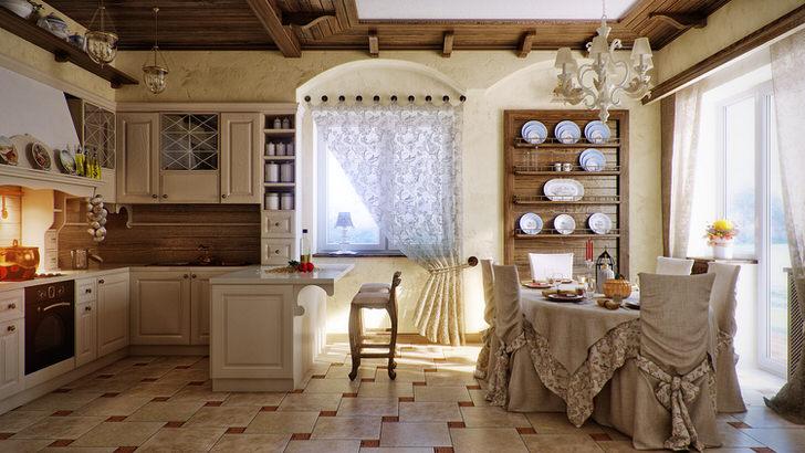 Изысканная кухня в кантри стиле очаровывает своей простотой.