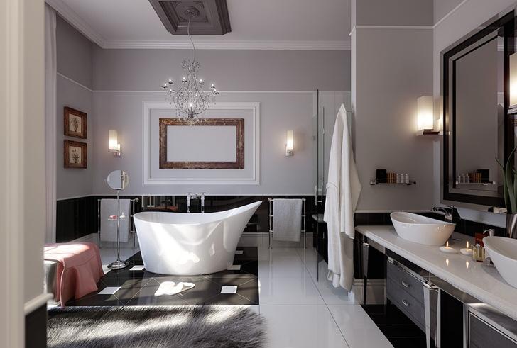 Элегантная ванная комната в современном стиле модерн.