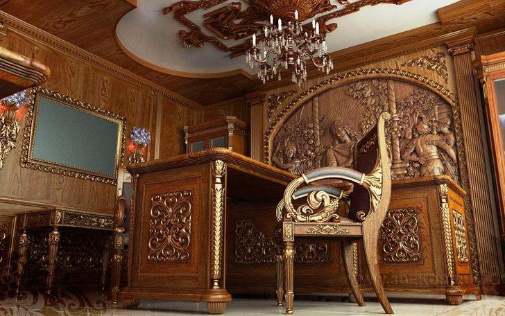Рабочий кабинет в стиле барокко с правильно подобранной мебелью. Мебель от настоящих итальянских производителей.