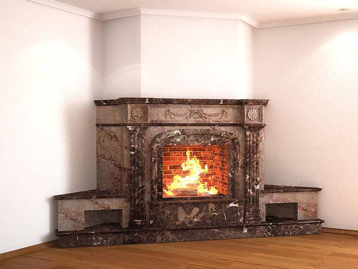 Угловой камин с богатым порталом из мрамора-украшение гостиной.