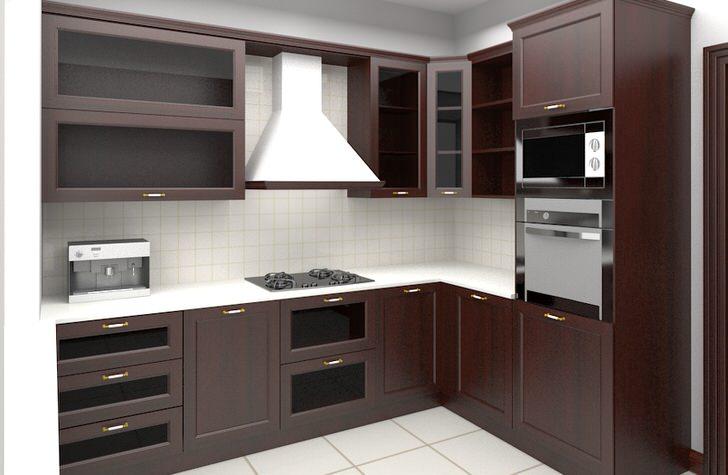 Угловая кухонная мебель со встроенной бытовой техникой.