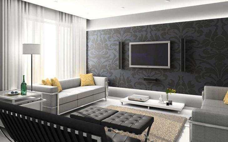 Уютная гостиная в стиле хай тек. Характерны просторные окна, лаконичные формы мебели и однотонный высокий ковёр.