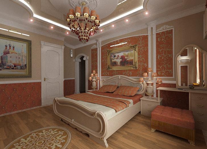 Стильная спальня ампир в нежных персиковых и нейтральных бежевых тонах. Примечательны художественные картины в злотых рамах и правильно подобранное в соответствии с требованиями стиля ампир освещение.