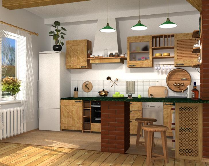 Дизайнерский проект для небольшой кухни в городской квартире или частном доме.