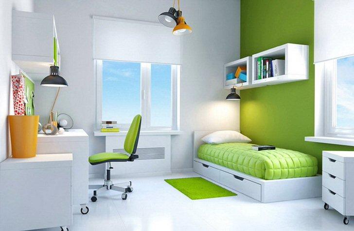 Минимум мебели в детской комнате в стиле хай-тек компенсируется ее функциональностью. Полочки и ящички, навесные шкафы - все что нужно для эргономичного использования жилой площади.