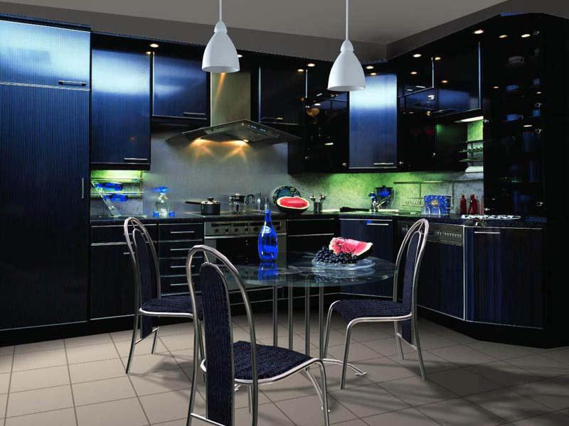 Необычный по цвету мебели интерьер кухни напоминающий стиль хай-тек. Больше света.