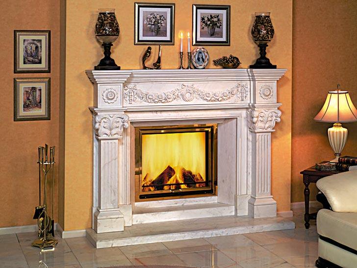 Газовый камин оформленный в интерьер стиля модерн создаёт впечатление огня от деревянных поленьев.