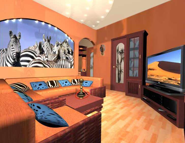 Цвет выжженной саваны-цвет Африки. В такой комнате вам всегда будет тепло.