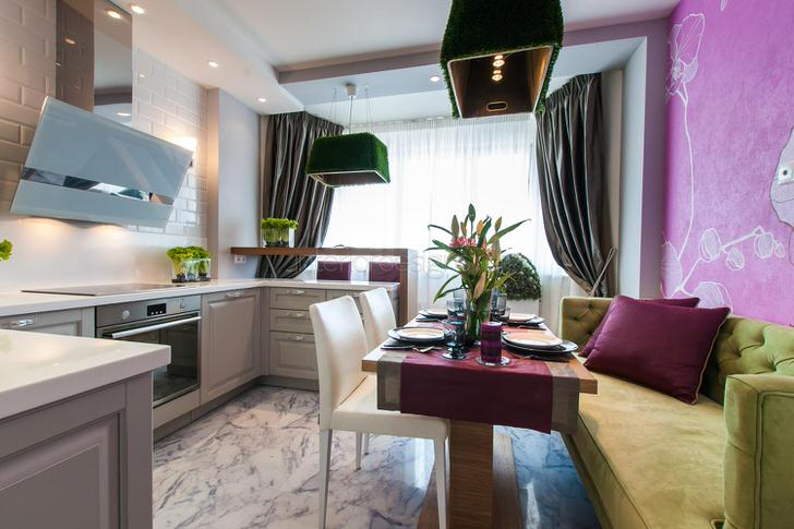 Кухня 11 кв. м. в стиле эклектика