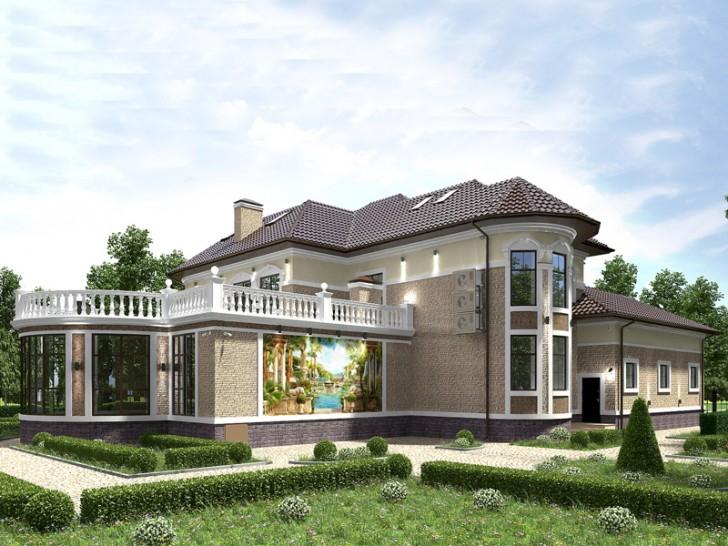 Небольшой дом с шикарной террасой на втором этаже. Удачное оформление фасада здания в стиле барокко.