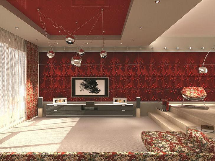 Просторная комната для гостей в авангард стиле. Внимание привлекает правильно подобранное освещение.