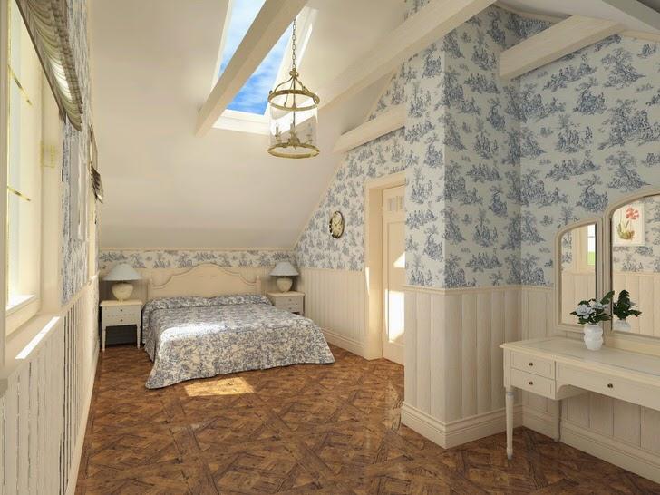 Лаконичная дизайнерская идея - спальня в кантри стиле. Минимум мебели и правильно подобранная отделка.