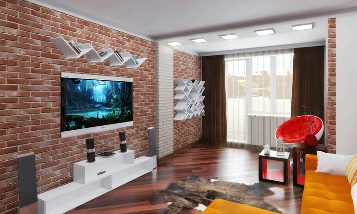 Стиль лофт и авангард гармонично дополняют друг друга. Яркая, неординарная гостиная сделанная для жизни. Мне нравится.