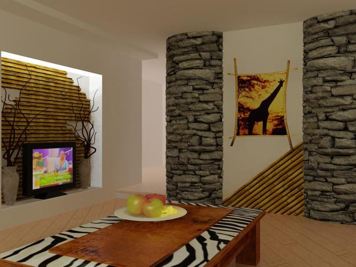 Уютная гостиная с узнаваемыми африканскими мотивами.