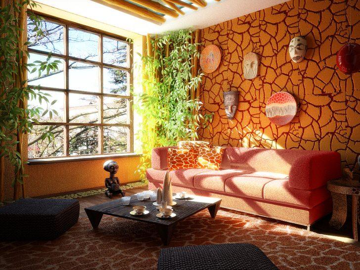 Яркий пример гостиной в этническом стиле. Догадайтесь с какого континента эта симпатичная комната.