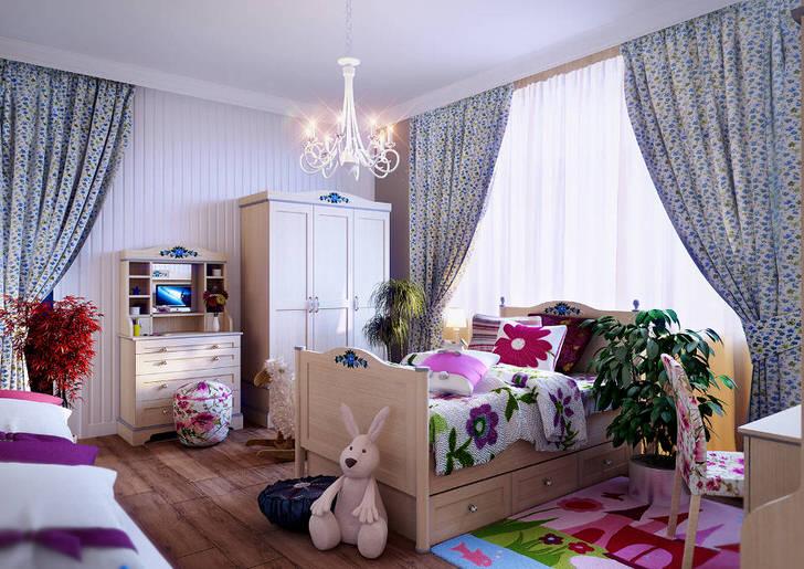 Светлая детская комната с большими кадками живой зелени. Стиль кантри определяет светлые полосатые стены, простенькая добротная мебель и полы под деревянный паркет.Светлая детская комната с большими кадками живой зелени. Стиль кантри определяет светлые полосатые стены, простенькая добротная мебель и полы под деревянный паркет.