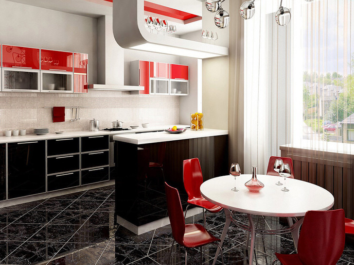 Классика сочетания белого, красного и чёрного. Чудесная барная стойка разделяющая рабочую и столовые зоны.