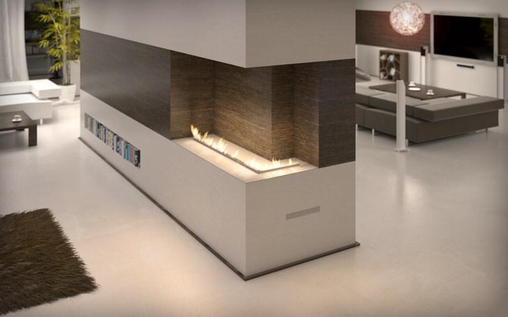 Конструкция факельной трубки биокамина позволяет дизайнеру эргономично размещать камин в интерьере гостиной.