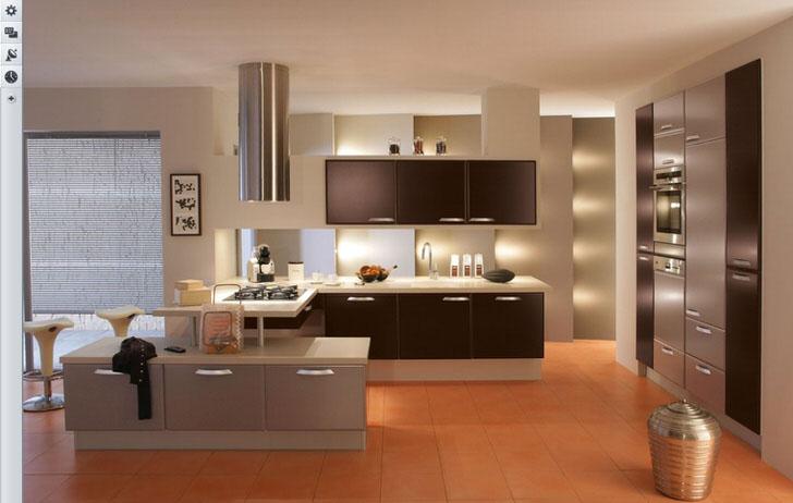 Кухня в стиле хай-тек с удачным освещением.