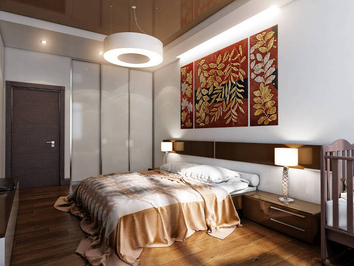 Спальня где нет места унынию и скуке. В оформлении пола предпочтение отдаётся паркету под деревянный настил.