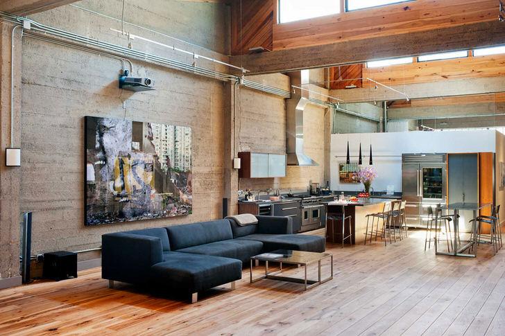Интерьер и мебель в стиле-лофт.