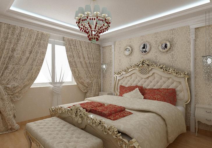 Кровать с витиеватыми спинками золотого цвета изысканно вписывается в общую картину в стиле барокко.