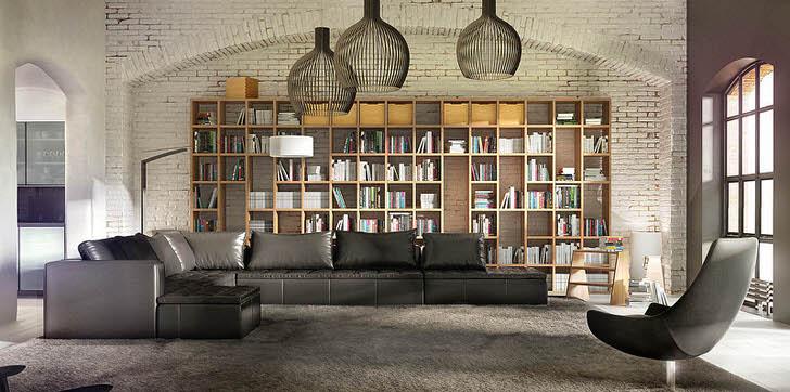 Мягкий стиль лофт ы оформлении интерьера большой комнаты. Люстры от дизайнера удачное дополнение.