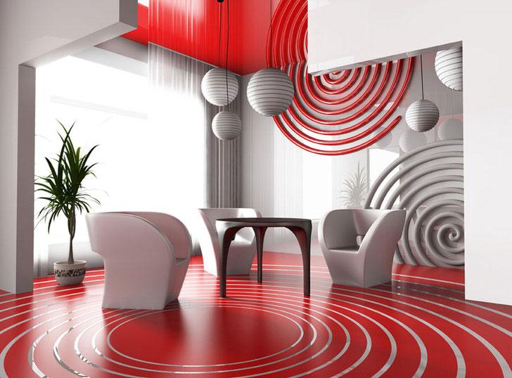 Обеденная зона в авангардном стиле. Выгодно смотрится сочетание яркого красного цвета с нейтральным серым.