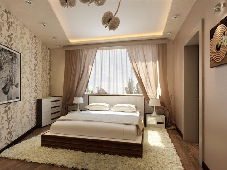 Оригинальная спальня неправильной прямоугольности для Алисы из страны чудес.