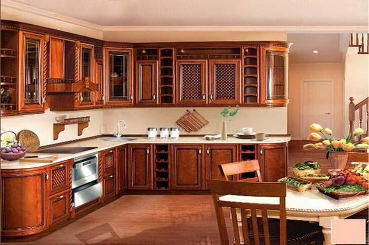 Красивая мебель под красное дерево, белый стол для кухни в стиле модерн, классика.