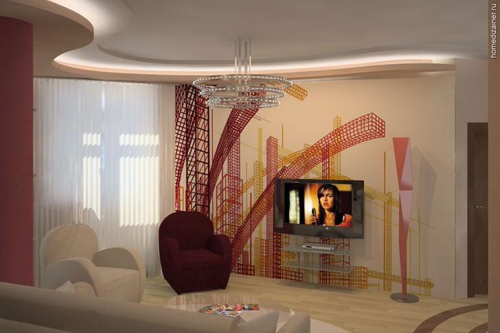 Проект дизайна просторной гостиной