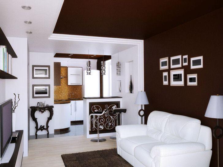 Небольшая гостиная в стиле эклектика в городской квартире. Просторная, светлая комната с минимум мебели.