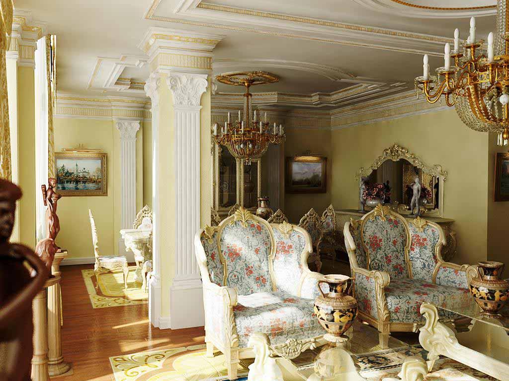 Гостиная в стиле барокко с правильно подобранным освещением. Интересны так же колонны с керамической лепкой.