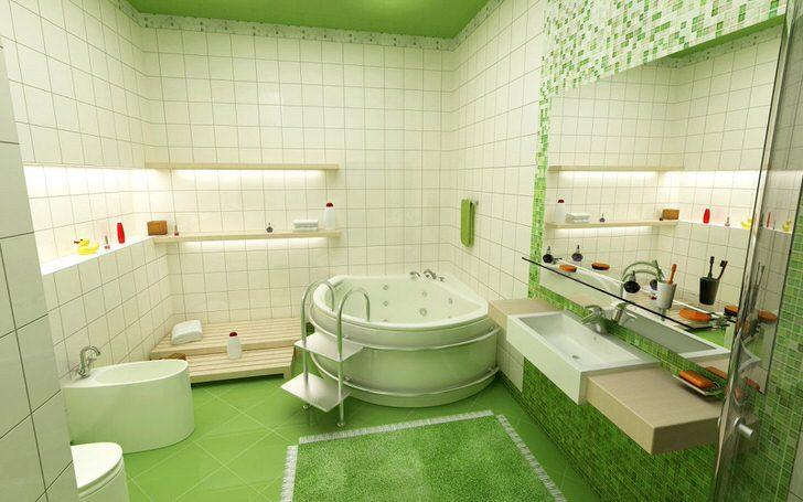 Для не больших по площади ванных комнат можно отступить от серого цвета. Фишка в современной сантехнике и большом зеркале.